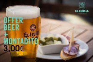 Taberna El Lerele - Promoción - Caña y Montadido 3 Euros