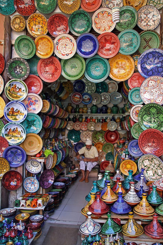 Puesto de cerámica en Marrakech